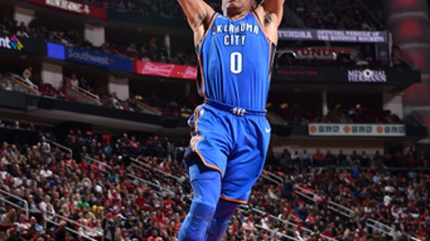 HOUSTON, TX - APRIL 7:  Russell Westbrook #0 of the Oklahoma City Thunder goes to the basket against the Houston Rockets on April 7, 2018 at the Toyota Center in Houston, Texas. (Photo by Bill Baptist/NBAE via Getty Images)