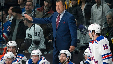 FILE - In this Jan. 21, 2018, file photo, New York Rangers coach Alain Vigneault gestures during the team's NHL hockey game against the Los Angeles Kings in Los Angeles. The Rangers have fired Vigneault after missing the playoffs in his fifth season. The team announced the move Saturday night, April 7, and will begin searching for his replacement immediately. (AP Photo/Michael Owen Baker, File)