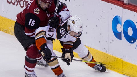 Arizona Coyotes' Brad Richardson (15) battles for the puck with the Anaheim Ducks' Hampus Lindholm (47) during the third period of an NHL hockey game Saturday, April 7, 2018, in Glendale, Ariz. The Ducks won 3-0. (AP Photo/Darryl Webb