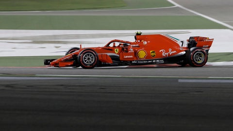 Ferrari driver Kimi Raikkonen of Finland steers his car during the Bahrain Formula One Grand Prix, at the Formula One Bahrain International Circuit in Sakhir, Bahrain, Sunday, April 8, 2018. (AP Photo/Luca Bruno)
