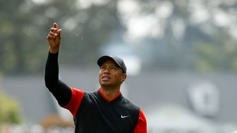 Tiger Woods tests the wind on the first hole during the fourth round at the Masters golf tournament Sunday, April 8, 2018, in Augusta, Ga. (AP Photo/Charlie Riedel)