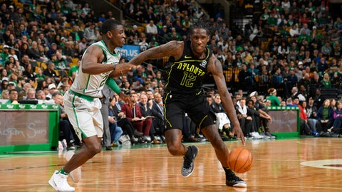 BOSTON, MA - APRIL 8:  Taurean Prince #12 of the Atlanta Hawks handles the ball against the Boston Celtics on April 8, 2018 at the TD Garden in Boston, Massachusetts.  (Photo by Brian Babineau/NBAE via Getty Images)