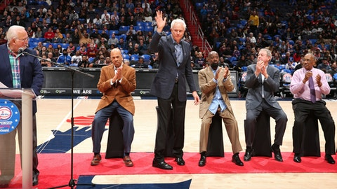 WASHINGTON, DC -MARCH 25: Mitch Kupchak is being honored as the Washington Wizards celebrate the 40th Anniversary of the 1978 Bullets championship team at halftime of the game against the New York Knicks on March 25, 2018 at the Capital One Arena in Washington, DC. (Photo by Ned Dishman/NBAE via Getty Images)