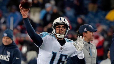 Tennessee Titans backup quarterback Matt Cassel warms up before an NFL divisional playoff football game against the New England Patriots, Saturday, Jan. 13, 2018, in Foxborough, Mass. (AP Photo/Steven Senne)