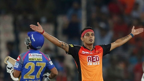 Sunrises bowler Siddharth Kaul celebrates the wicket of Ajinkya Rahane of Rajasthan Royals during VIVO IPL cricket T20 match in Hyderabad, India, Monday, April 9, 2018. (AP Photo/Mahesh Kumar A.)