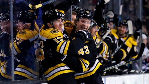 FILE - This March 19, 2018, file photo shows Boston Bruins forward Ryan Donato, left, being congratulated by Danton Heinen (43) after his first goal in his first NHL game, during the second period of a hockey game against the Columbus Blue Jackets in Boston. In the East, Boston suddenly looks like the team to beat, Pittsburgh has won the Stanley Cup two years in a row and awakened from a midseason funk and Tampa Bay has shown flashes of being unstoppable. (AP Photo/Charles Krupa, File)