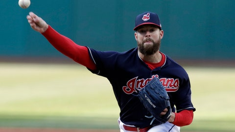 Cleveland Indians starting pitcher Corey Kluber delivers in the first inning of a baseball game against the Detroit Tigers, Monday, April 9, 2018, in Cleveland. (AP Photo/Tony Dejak)