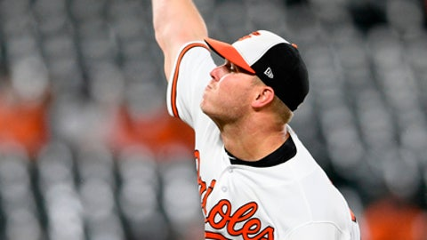 Baltimore Orioles starting pitcher Dylan Bundy (37) delivers a pitch during the third inning of a baseball game against the Toronto Blue Jays, Monday, April 9, 2018, in Baltimore. (AP Photo/Nick Wass)