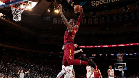 NEW YORK, NY - APRIL 9: LeBron James #23 of the Cleveland Cavaliers goes up for a dunk against the New York Knicks on April 9, 2018 at Madison Square Garden in New York City, New York.  (Photo by Nathaniel S. Butler/NBAE via Getty Images)
