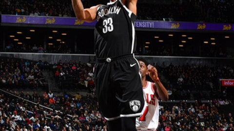 BROOKLYN, NY - APRIL 9:  Allen Crabbe #33 of the Brooklyn Nets shoots the ball during the game against the Chicago Bulls on April 9, 2018 at Barclays Center in Brooklyn, New York. (Photo by Jesse D. Garrabrant/NBAE via Getty Images)