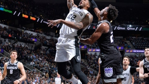 SAN ANTONIO, TX - APRIL 9:  Rudy Gay #22 of the San Antonio Spurs dunks against the San Antonio Spurs on April 9, 2018 at the AT&T Center in San Antonio, Texas.