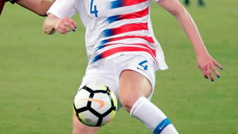 FILE - In this April 5, 2018, file photo, United States' Becky Sauerbrunn (4) clears the ball away against Mexico during the second half of an international friendly soccer match in Jacksonville, Fla. If the defending champions make the field for soccers premier event in France next year, it will be Sauerbrunns third World Cup. (AP Photo/John Raoux, File)
