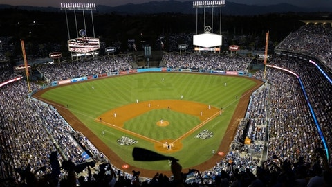 Dodgers Stadium is seen during the fourth inning of Game 2 of baseball's World Series between the Houston Astros and the Los Angeles Dodgers Wednesday, Oct. 25, 2017, in Los Angeles. (AP Photo/Tim Donnelly)