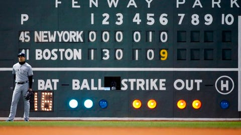 New York Yankees' Giancarlo Stanton stands in front of the scoreboard during the sixth inning of the team's baseball game against the Boston Red Sox in Boston, Tuesday, April 10, 2018. (AP Photo/Michael Dwyer)