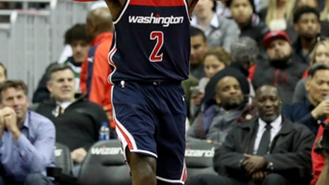 WASHINGTON, DC - APRIL 10: John Wall #2 of the Washington Wizards reacts to an officials call against the Boston Celtics in the first half at Capital One Arena on April 10, 2018 in Washington, DC. (Photo by Rob Carr/Getty Images)
