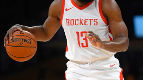 LOS ANGELES, CA - APRIL 10:  James Harden #13 of the Houston Rockets dribbles the ball during the game against the Los Angeles Lakers on April 10, 2018 at STAPLES Center in Los Angeles, California. (Photo by Robert Laberge/Getty Images)