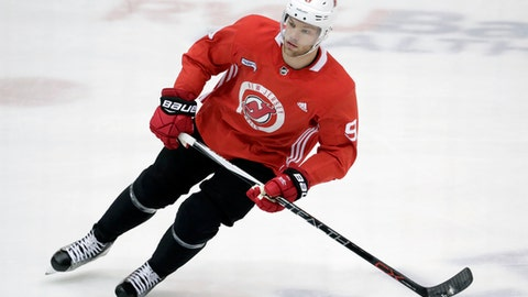 New Jersey Devils left wing Taylor Hall works out ahead of the first round of the NHL hockey playoffs, Wednesday, April 11, 2018, in Newark, N.J. The Devils will open the playoffs on the road against the Tampa Bay Lightning starting on Thursday. (AP Photo/Julio Cortez)