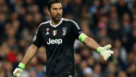 Juventus goalkeeper Gianluigi Buffon reacts during a Champions League quarter final second leg soccer match between Real Madrid and Juventus at the Santiago Bernabeu stadium in Madrid, Wednesday, April 11, 2018. (AP Photo/Francisco Seco)