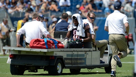 Chicago Bears wide receiver Cameron Meredith (81) is taken from the field after being injured on a run against the Tennessee Titans in the first half of an NFL football preseason game Sunday, Aug. 27, 2017, in Nashville, Tenn. (AP Photo/Mark Zaleski)