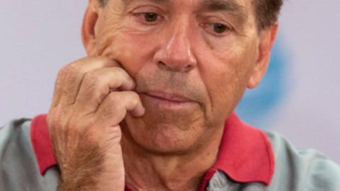 Alabama football coach Nick Saban speaks with reporters Wednesday, April 11, 2018, in Tuscaloosa, Ala. (Vasha Hunt/AL.com via AP)