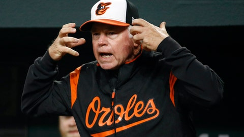 Baltimore Orioles manager Buck Showalter requests a play review in the fifth inning of a baseball game against the Toronto Blue Jays, Wednesday, April 11, 2018, in Baltimore. (AP Photo/Patrick Semansky)
