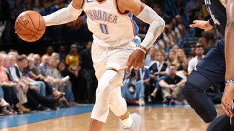 OKLAHOMA CITY, OK - APRIL 11:  Russell Westbrook #0 of the Oklahoma City Thunder handles the ball during the game against the Memphis Grizzlies on April 11, 2018 at Chesapeake Energy Arena in Oklahoma City, Oklahoma. (Photo by Layne Murdoch/NBAE via Getty Images)