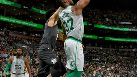 BOSTON, MA - APRIL 11: Semi Ojeleye #37 of the Boston Celtics goes to the basket against the Brooklyn Nets on April 11, 2018 at the TD Garden in Boston, Massachusetts. (Photo by Brian Babineau/NBAE via Getty Images)