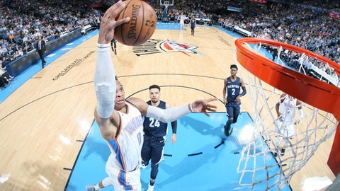 OKLAHOMA CITY, OK - APRIL 11: Russell Westbrook #0 of the Oklahoma City Thunder dunks the ball during the game against the Memphis Grizzlies on April 11, 2018 at Chesapeake Energy Arena in Oklahoma City, Oklahoma. (Photo by Layne Murdoch/NBAE via Getty Images)