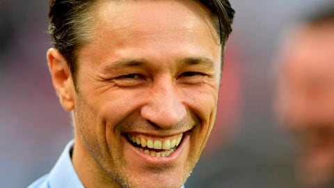 FILE - In this April 4, 2017 file photo Frankfurt's head coach Niko Kovac smiles prior the German Bundesliga soccer match between 1. FC Cologne and Eintracht Frankfurt in Cologne, Germany. (AP Photo/Martin Meissner, file)