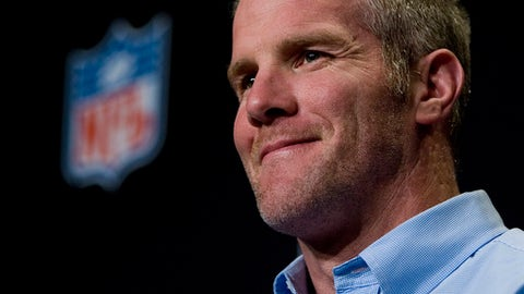 FILE - In this Jan. 30, 2008, file photo, Green Bay Packers' Brett Favre smiles during a press conference in Phoenix. Favre was equal parts desperado and virtuoso during his 20-year NFL career that was predicated on taking big risks in the game's biggest moments. Favre will be inducted into the Pro Football Hall of Fame on Saturday, Aug. 6, 2016, in Canton, Ohio.AP Photo/Charlie Riedel, File)
