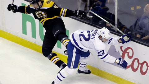 Boston Bruins left wing Rick Nash (61) and Toronto Maple Leafs defenseman Nikita Zaitsev (22) crash along the boards during the first period of Game 1 of an NHL hockey first-round playoff series Thursday, April 12, 2018, in Boston. (AP Photo/Elise Amendola)