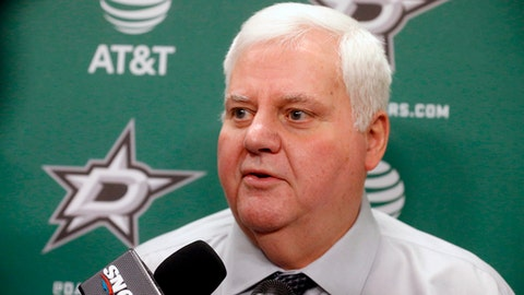 FILE - In this Feb. 11, 2018, file photo, Dallas Stars head coach Ken Hitchcock talks to the media prior to an NHL hockey game against the Vancouver Canucks, in Dallas. Stars coach Ken Hitchcock is retiring, ending a 22-year career as the third-winningest coach in NHL history. Hitchcock will become a consultant for the team he led to its only Stanley Cup championship in 1999. (AP Photo/Michael Ainsworth, File)