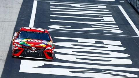 Driver Kyle Busch practices for a NASCAR Monster Series auto race on Friday, April 13, 2018, in Bristol, Tenn. (AP Photo/Wade Payne)