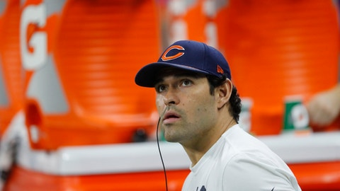 Chicago Bears quarterback Mark Sanchez watches from the bench against the Detroit Lions during an NFL football game in Detroit, Saturday, Dec. 16, 2017. (AP Photo/Paul Sancya)