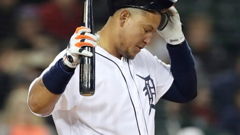 Detroit Tigers' Miguel Cabrera removes his batting helmet after striking out during the sixth inning of a baseball game against the New York Yankees, Friday, April 13, 2018, in Detroit. (AP Photo/Carlos Osorio)