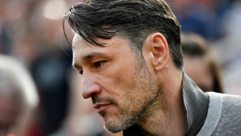 Frankfurt's head coach Niko Kovac prior to the German Bundesliga soccer match between Bayer Leverkusen and Eintracht Frankfurt in Leverkusen, Germany, Saturday, April 14, 2018. Kovac was announced as new Bayern head coach for next season. (AP Photo/Martin Meissner)