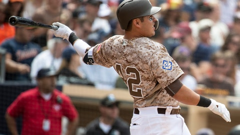 San Diego Padres' Christian Villanueva watches his solo home run during the fifth inning of a baseball game against the San Francisco Giants in San Diego, Sunday, April, 15, 2018. (AP Photo/Kyusung Gong)