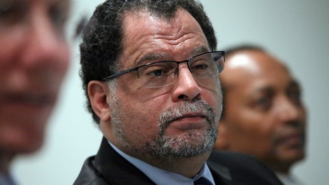 "FILE - In this Wednesday April 28, 2010 file photo, Danny Jordaan, CEO of the 2010 World Cup Organizing Committee in South Africa, listens during a World Cup soccer news conference in New York. The South African soccer federation has promised Morocco ""unqualified support"" in its bid to host the 2026 World Cup. The federation says its president, Danny Jordaan, assured Morocco's delegation ""he will personally lobby"" African officials ahead of the scheduled vote in Moscow on June 13, 2018. (AP Photo/Bebeto Matthews, file)"