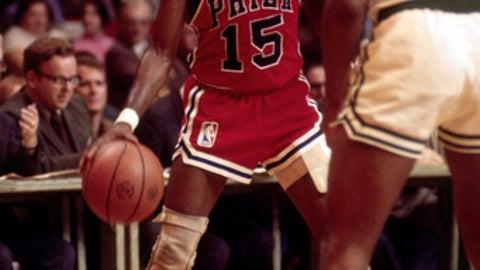 BOSTON, MA - 1970: Hal Greer #15 of the Philadelphia 76ers dribbles the ball against the Boston Celtics circa 1970 at the Boston Garden in Boston, Massachusetts. (Photo by Dick Raphael/NBAE via Getty Images)