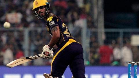 Kolkata Night Riders' Nitish Rana looks as he take a shot during VIVO IPL cricket T20 match against Delhi Daredevils in Kolkata, India, Monday, April 16, 2018. (AP Photo/Bikas Das)