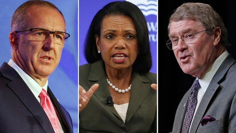 """FILE - At left, in a July 10, 2018, file photo, Southeastern Conference Commissioner Greg Sankey speaks during the NCAA college football Southeastern Conference's annual media gathering in Hoover, Ala. Center, in an Oct. 19, 2017, file photo, former U.S. Secretary of State Condoleezza Rice participates in a panel discussion at a forum sponsored by the George W. Bush Institute in New York. At right, in an April 5, 2018, file photo, Atlantic Coast Conference Commissioner John Swofford speaks during a news conference in Charlotte, N.C. Commissioners of the Southeastern and Atlantic Coast conferences say they're confident that the committee led by Condoleeza Rice will reach """"impactful"""" conclusions as it studies corruption in college basketball. (AP Photo/File)"""
