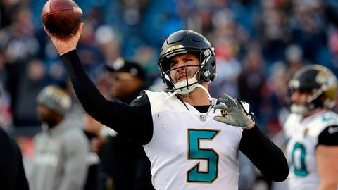 FILE - In this Jan. 21, 2018 file photo, Jacksonville Jaguars quarterback Blake Bortles (5) warms up before the AFC championship NFL football game against the New England Patriots in Foxborough, Mass. The Jaguars began their offseason program still thinking about how close they came to upsetting New England and getting to the Super Bowl. Jacksonville led 20-10 early in the fourth quarter before faltering. Players say the 24-20 loss still stings and will serve as a driving force over the next nine months. Bortles says theres a hunger to reach that final game and go win it.   (AP Photo/David J. Phillip, file)