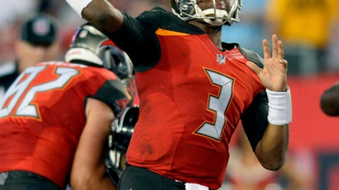 FILE - In this Dec. 18, 2017, file photo, Tampa Bay Buccaneers quarterback Jameis Winston (3) throws a touchdown pass during the second half of an NFL football game against the Atlanta Falcons, in Tampa, Fla. Buccaneers receiver DeSean Jackson, coming off one of the least productive seasons of his career, is working to improve the chemistry between him and quarterback Jameis Winston. (AP Photo/Jason Behnken, File)