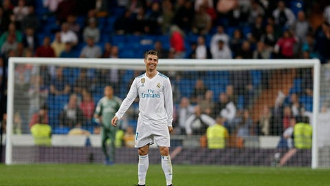 Real Madrid's Cristiano Ronaldo smiles after scoring against Athletic Bilbao during a Spanish La Liga soccer match between Real Madrid and Athletic Bilbao at the Santiago Bernabeu stadium in Madrid, Wednesday, April 18, 2018. Ronaldo scored once and the match ended in a 1-1 draw. (AP Photo/Francisco Seco)