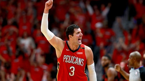 NEW ORLEANS, LA - APRIL 19:  Nikola Mirotic #3 of the New Orleans Pelicans reacts after scoring a three pointer during Game 3 of the Western Conference playoffs against the Portland Trail Blazers at the Smoothie King Center on April 19, 2018 in New Orleans, Louisiana. (Photo by Sean Gardner/Getty Images)