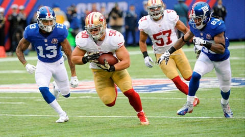 FILE - In this Nov. 16, 2014, file photo, San Francisco 49ers inside linebacker Chris Borland (50) runs back an interception as New York Giants' Odell Beckham (13) and Preston Parker (83) give chase during an NFL football game in East Rutherford, N.J. Borland knows firsthand all about the challenges of early retirement, having stepped away from a promising football career after one year because of concerns over head injuries. Borland spends his time now helping other football players and military veterans make that adjustment to their new lives that often lack the thrill and competitiveness of life in the armed forces or professional sports. (AP Photo/Bill Kostroun, File)