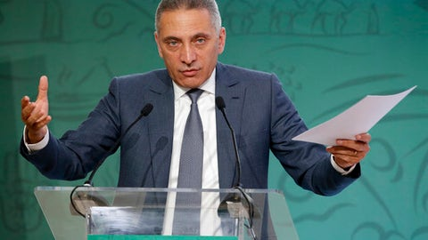 Head of Morocco's Bid Committee Moulay Hafid Elalamy speaks during a press conference to promote Morocco's bid for the 2026 soccer World Cup after the visit of the Task Force in Casablanca, Morocco, Friday April 20, 2018. (AP Photo/Abdeljalil Bounhar)