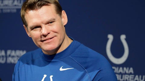 Indianapolis Colts general manager Chris Ballard listens to a question during a press conference at the NFL team's practice facility Friday, April 20, 2018, in Indianapolis. (AP Photo/Darron Cummings)