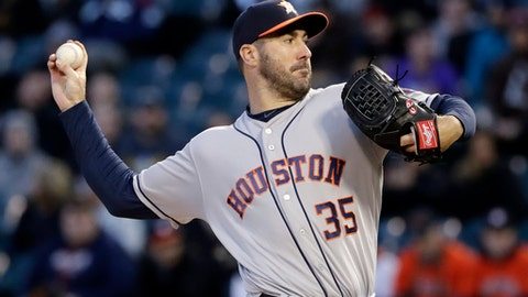 Houston Astros starting pitcher Justin Verlander throws against the Chicago White Sox during the first inning of a baseball game Friday, April 20, 2018, in Chicago. (AP Photo/Nam Y. Huh)