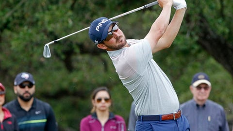 Andrew Landry tees off on the seventh hole during the third round at the Valero Texas Open golf tournament, Saturday, April 21, 2018, in San Antonio, Texas. (AP Photo/Michael Thomas)